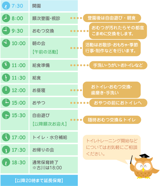 ふぇありぃ保育園 デイリープログラム